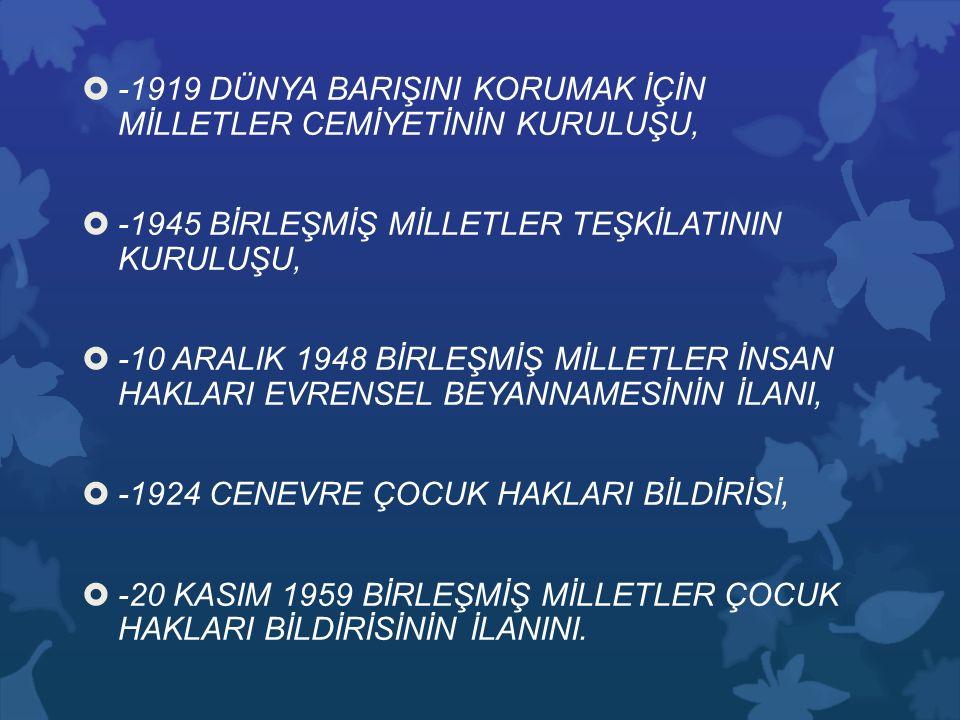 -1919 DÜNYA BARIŞINI KORUMAK İÇİN MİLLETLER CEMİYETİNİN KURULUŞU,