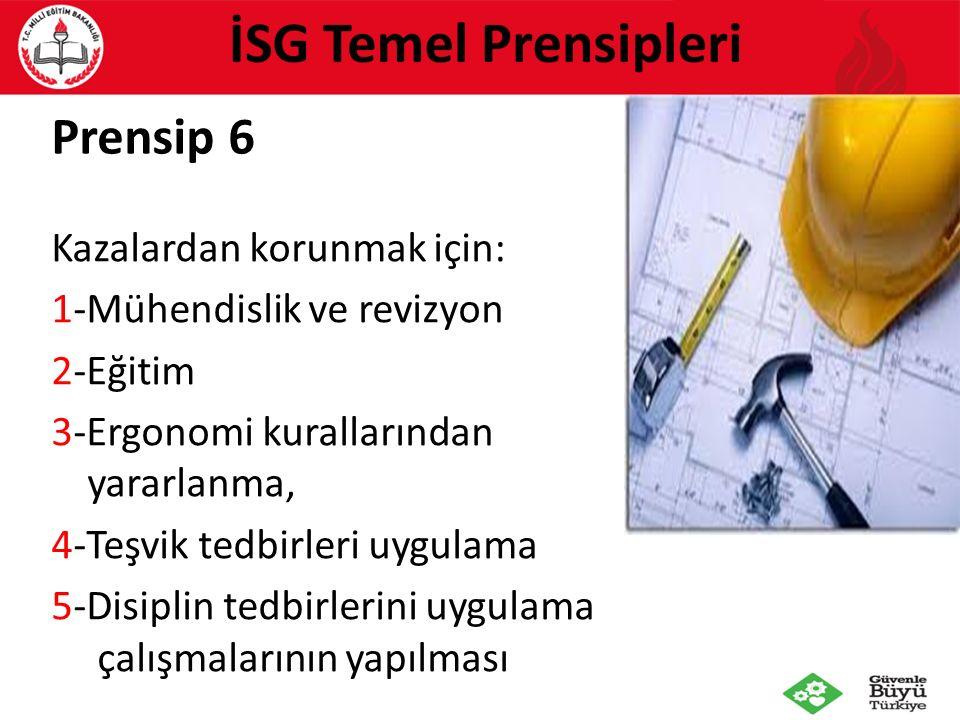 Prensip 6 Kazalardan korunmak için: 1-Mühendislik ve revizyon 2-Eğitim