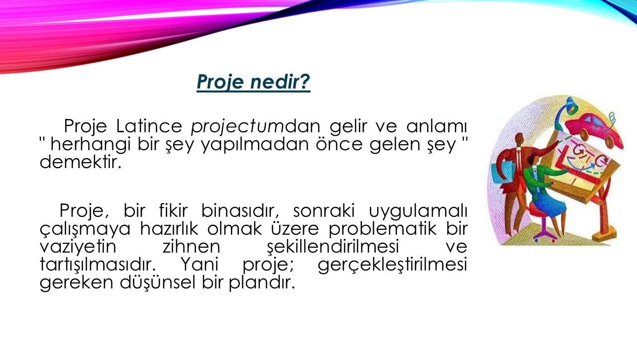 Proje nedir Proje Latince projectumdan gelir ve anlamı herhangi bir şey yapılmadan önce gelen şey demektir.