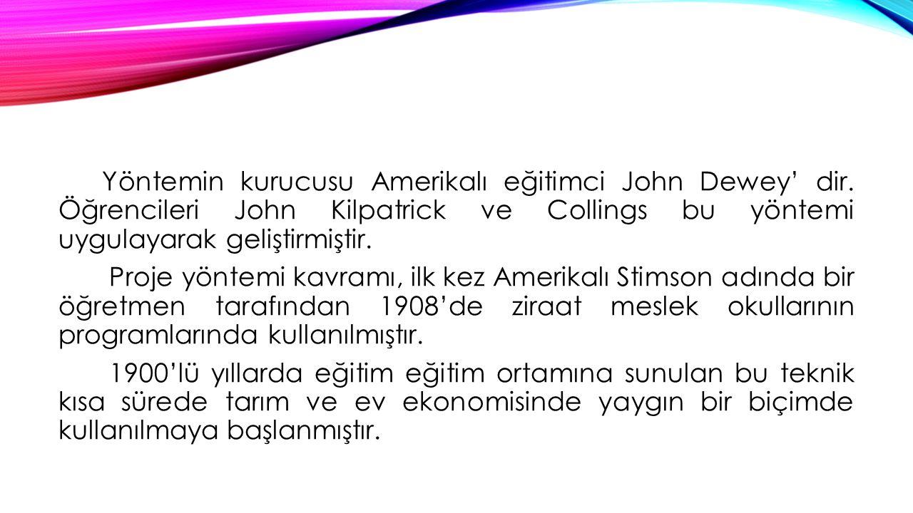 Yöntemin kurucusu Amerikalı eğitimci John Dewey' dir