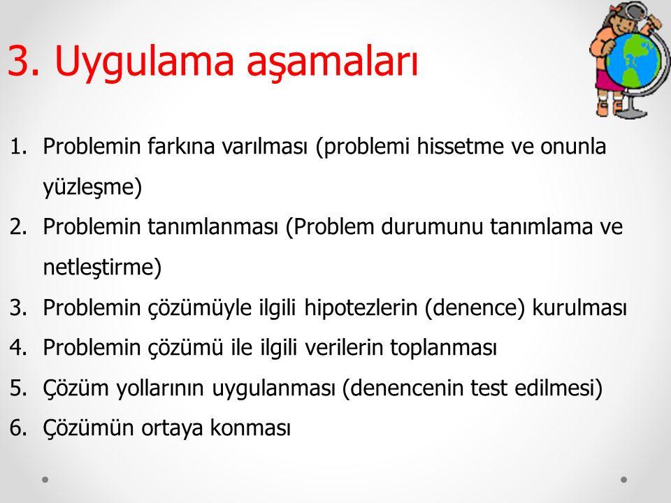 3. Uygulama aşamaları Problemin farkına varılması (problemi hissetme ve onunla yüzleşme)