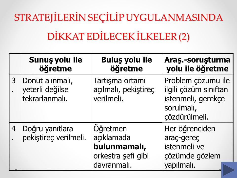 STRATEJİLERİN SEÇİLİP UYGULANMASINDA DİKKAT EDİLECEK İLKELER (2)