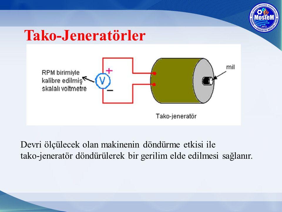Tako-Jeneratörler Devri ölçülecek olan makinenin döndürme etkisi ile