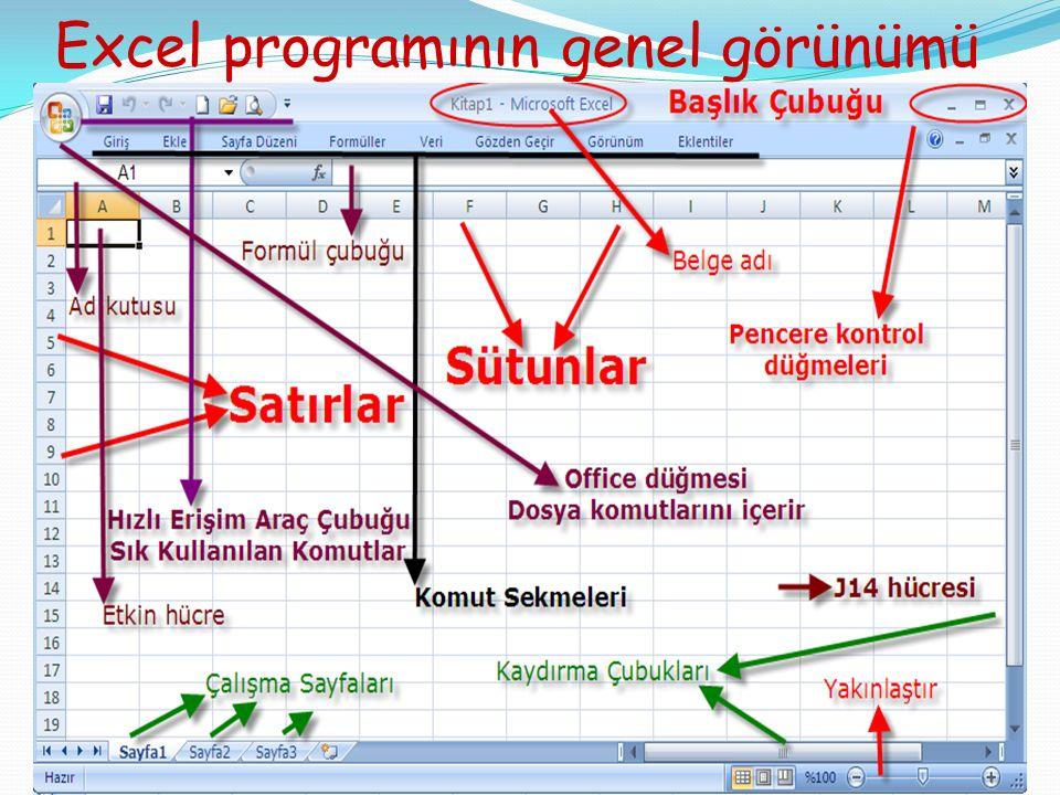 Excel programının genel görünümü