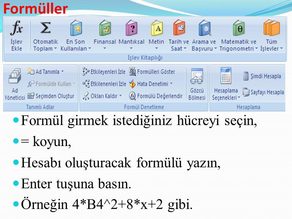 Formüller Formül girmek istediğiniz hücreyi seçin, = koyun,