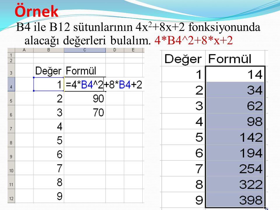 Örnek B4 ile B12 sütunlarının 4x2+8x+2 fonksiyonunda alacağı değerleri bulalım. 4*B4^2+8*x+2