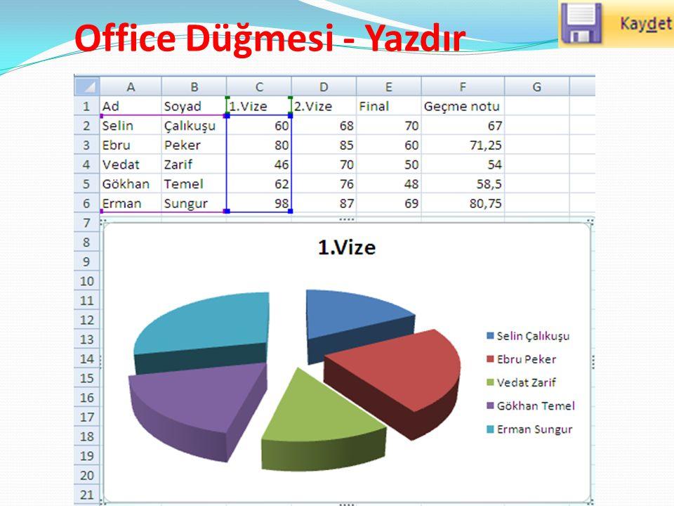 Office Düğmesi - Yazdır