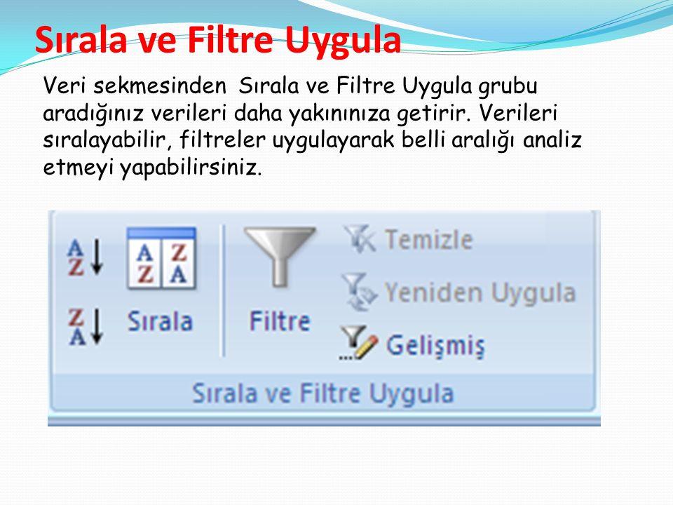 Sırala ve Filtre Uygula