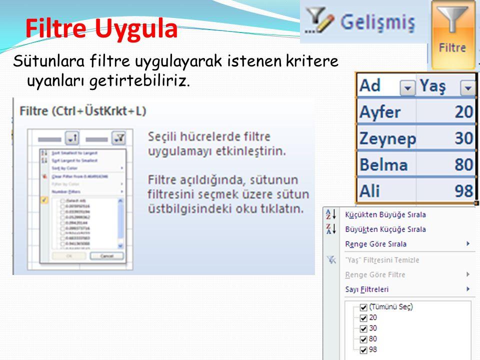 Filtre Uygula Sütunlara filtre uygulayarak istenen kritere uyanları getirtebiliriz.