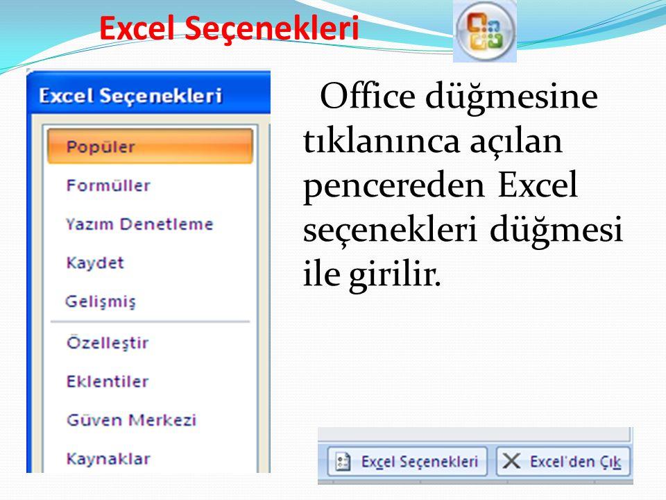 Excel Seçenekleri Office düğmesine tıklanınca açılan pencereden Excel seçenekleri düğmesi ile girilir.