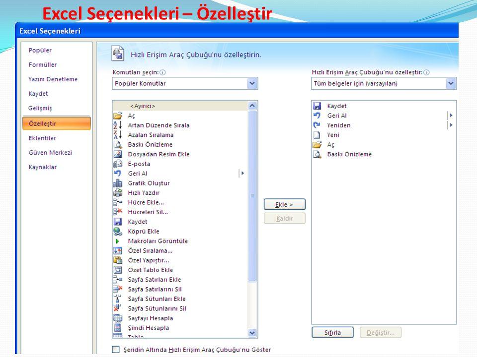 Excel Seçenekleri – Özelleştir