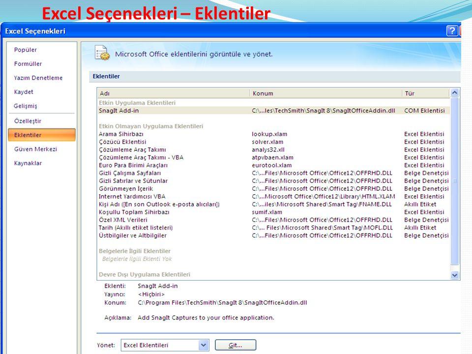 Excel Seçenekleri – Eklentiler