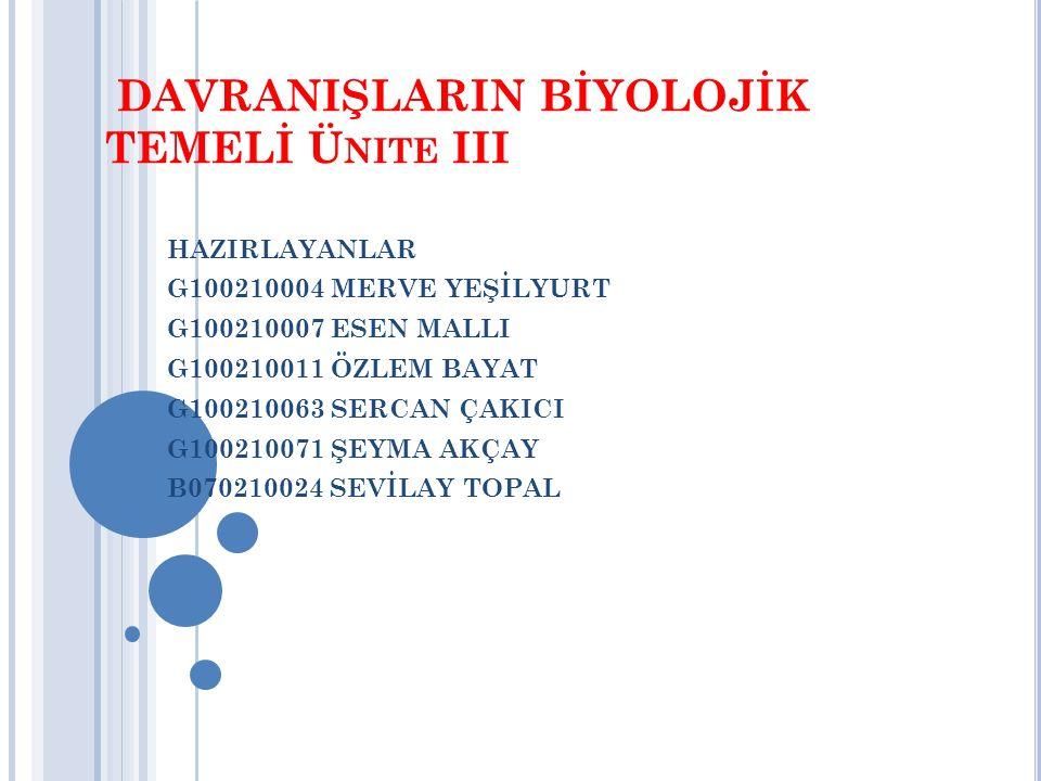 DAVRANIŞLARIN BİYOLOJİK TEMELİ Ünite III