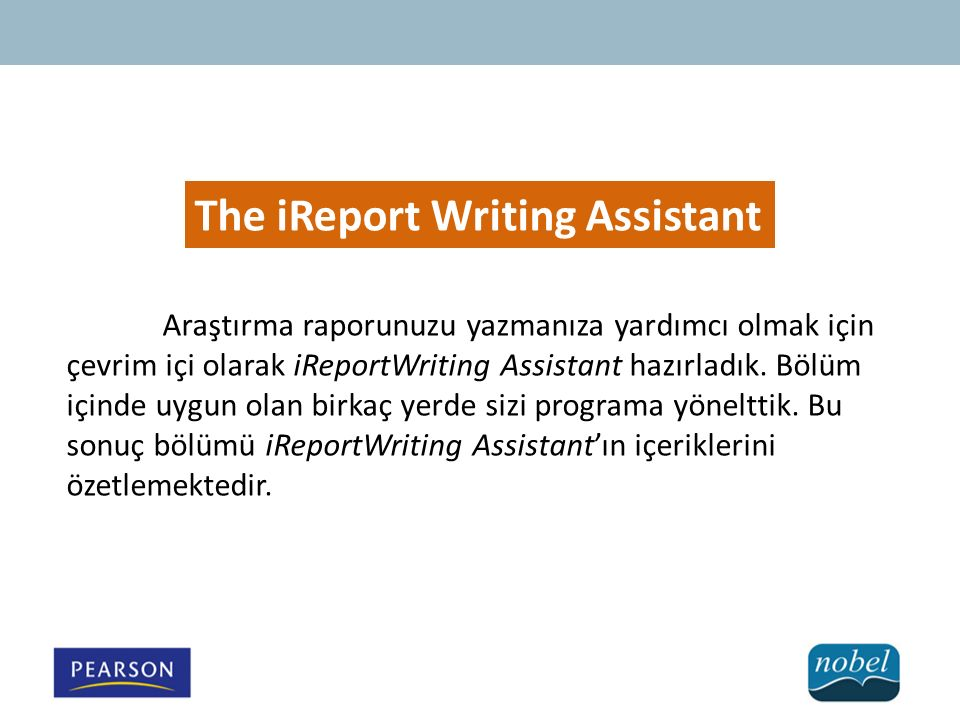 The iReport Writing Assistant