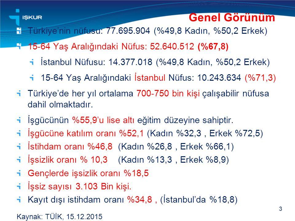 Genel Görünüm Türkiye'nin nüfusu: 77.695.904 (%49,8 Kadın, %50,2 Erkek) 15-64 Yaş Aralığındaki Nüfus: 52.640.512 (%67,8)