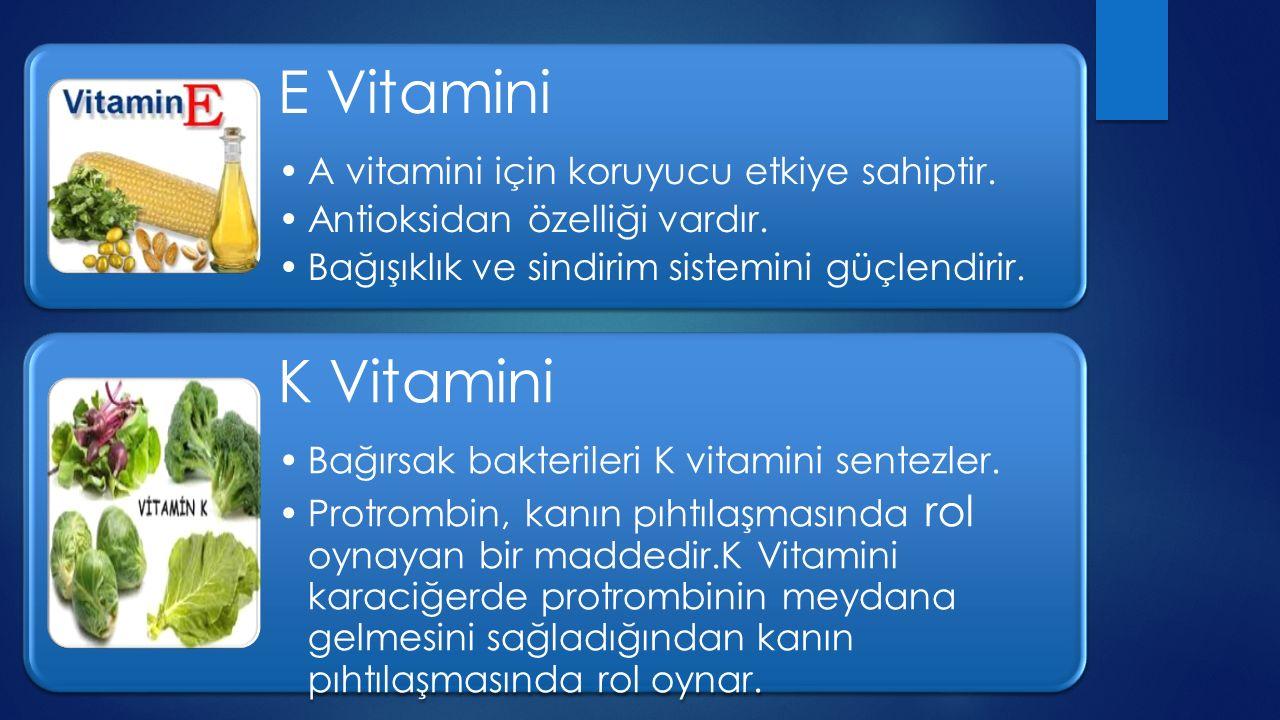 K Vitamini E Vitamini A vitamini için koruyucu etkiye sahiptir.