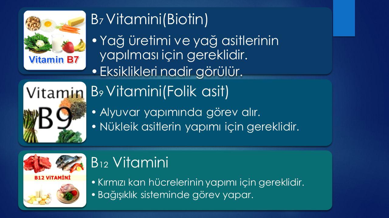 B9 Vitamini(Folik asit) B12 Vitamini