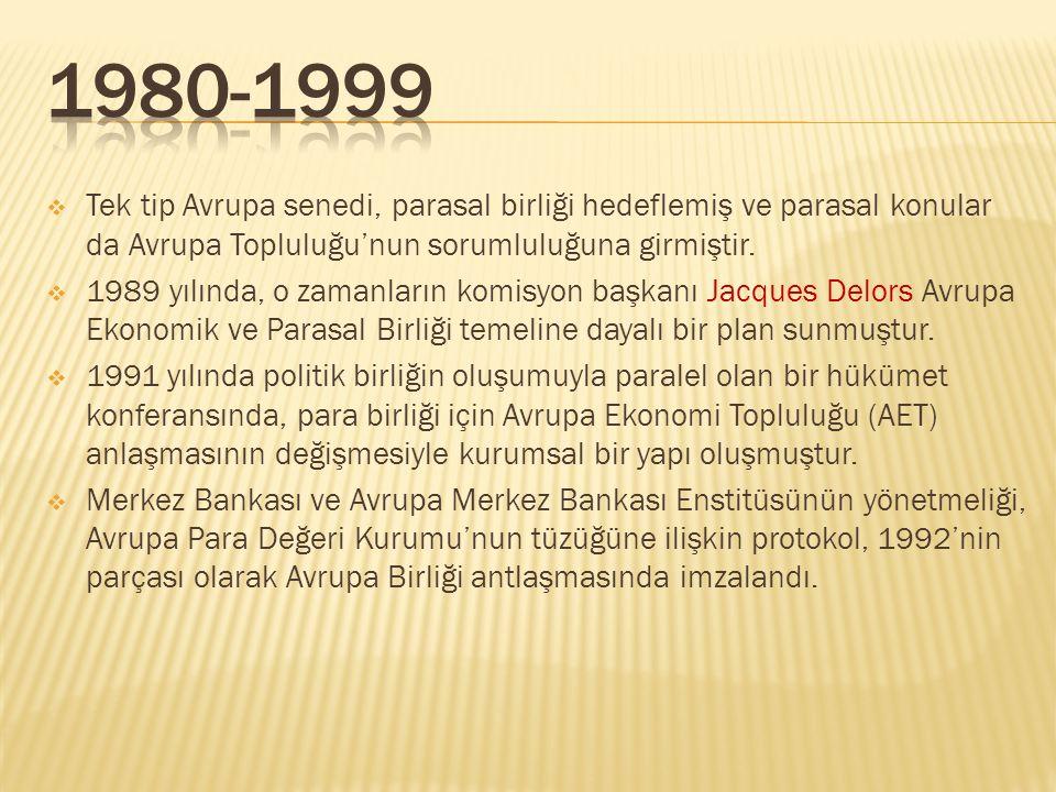 1980-1999 Tek tip Avrupa senedi, parasal birliği hedeflemiş ve parasal konular da Avrupa Topluluğu'nun sorumluluğuna girmiştir.