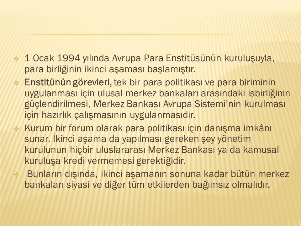 1 Ocak 1994 yılında Avrupa Para Enstitüsünün kuruluşuyla, para birliğinin ikinci aşaması başlamıştır.