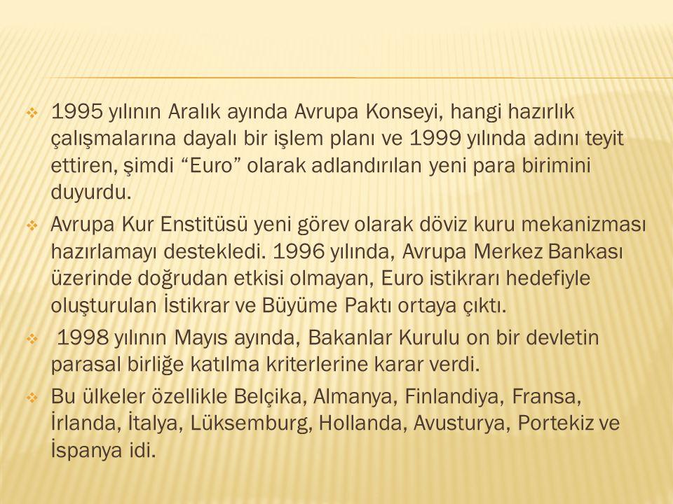 1995 yılının Aralık ayında Avrupa Konseyi, hangi hazırlık çalışmalarına dayalı bir işlem planı ve 1999 yılında adını teyit ettiren, şimdi Euro olarak adlandırılan yeni para birimini duyurdu.