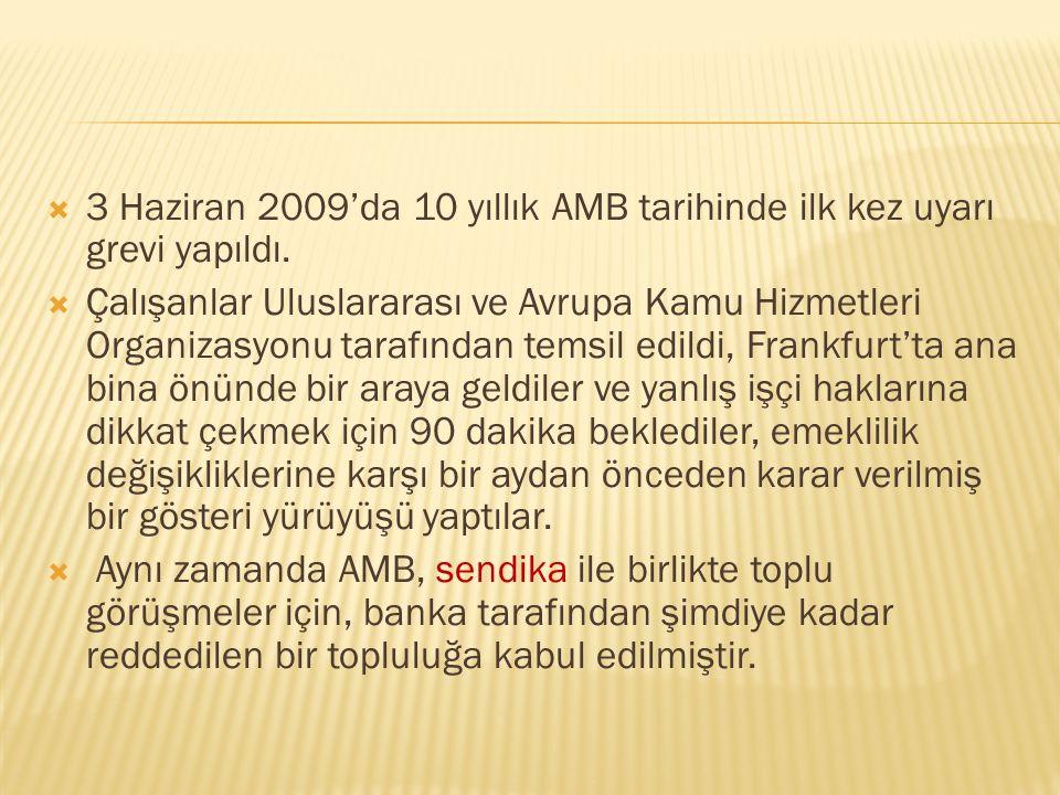 3 Haziran 2009'da 10 yıllık AMB tarihinde ilk kez uyarı grevi yapıldı.