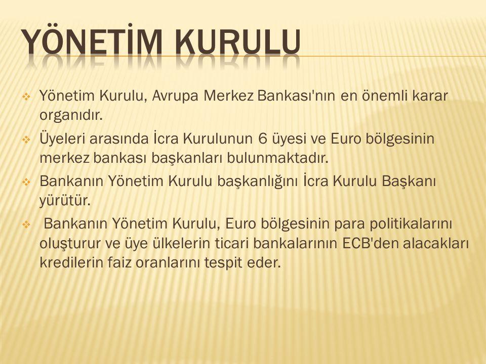 YÖNETİM KURULU Yönetim Kurulu, Avrupa Merkez Bankası nın en önemli karar organıdır.