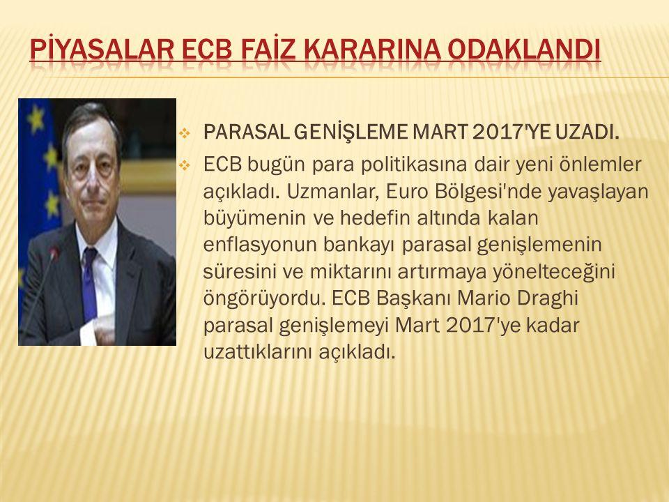 pİyasalar ECB FAİZ KARARINA ODAKLANDI