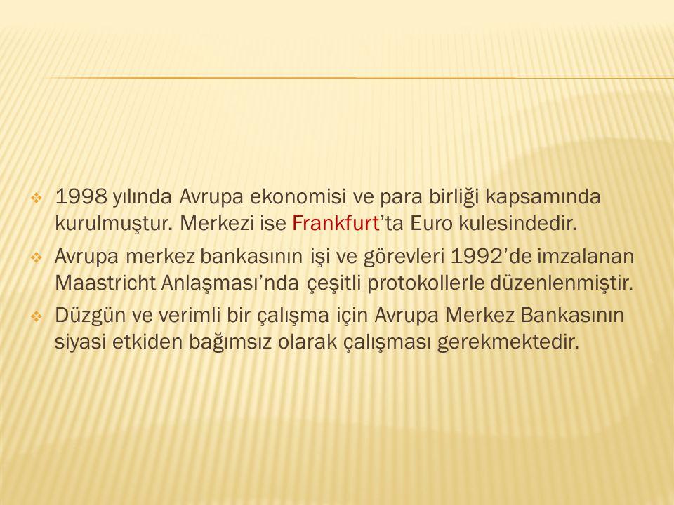 1998 yılında Avrupa ekonomisi ve para birliği kapsamında kurulmuştur