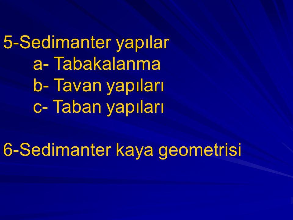 5-Sedimanter yapılar a- Tabakalanma. b- Tavan yapıları.