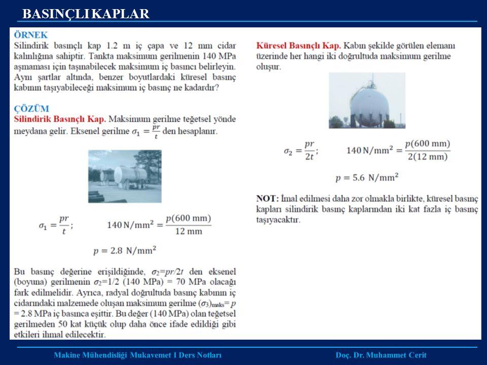Makine Mühendisliği Mukavemet I Ders Notları Doç. Dr. Muhammet Cerit