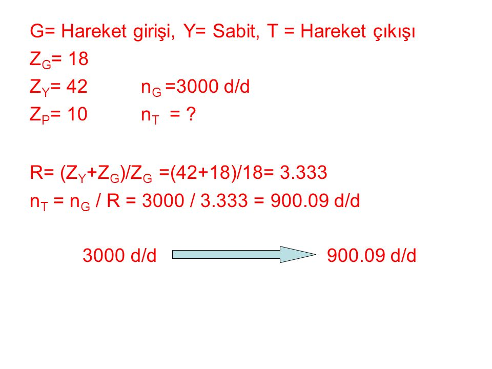 G= Hareket girişi, Y= Sabit, T = Hareket çıkışı