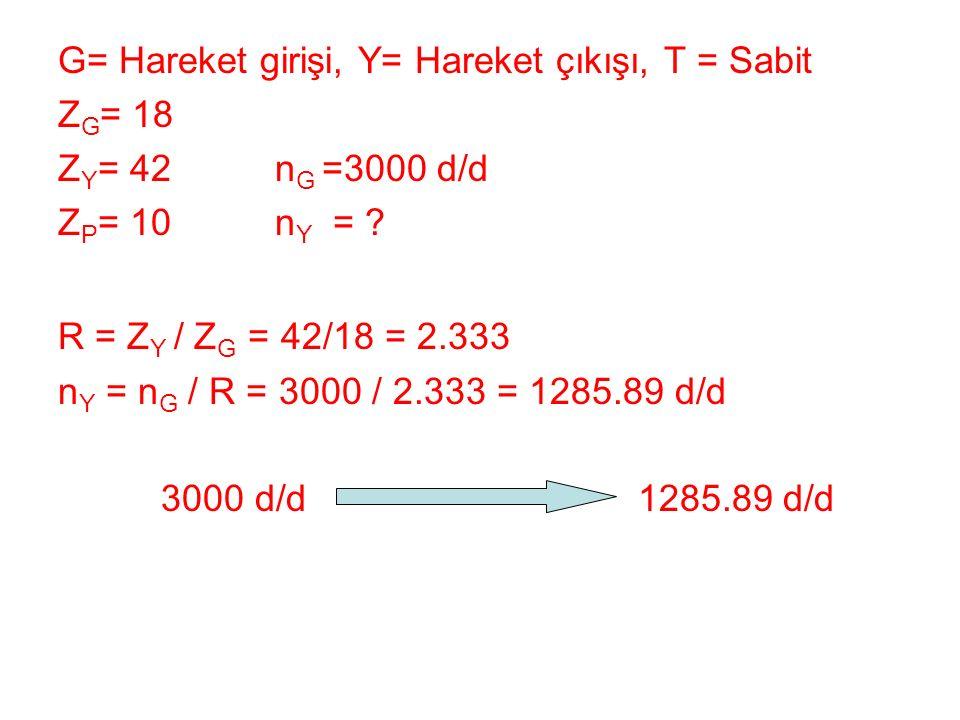 G= Hareket girişi, Y= Hareket çıkışı, T = Sabit