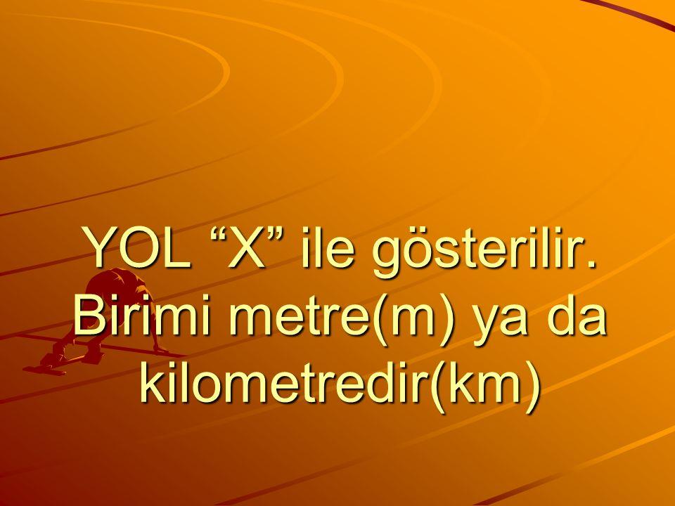 YOL X ile gösterilir. Birimi metre(m) ya da kilometredir(km)