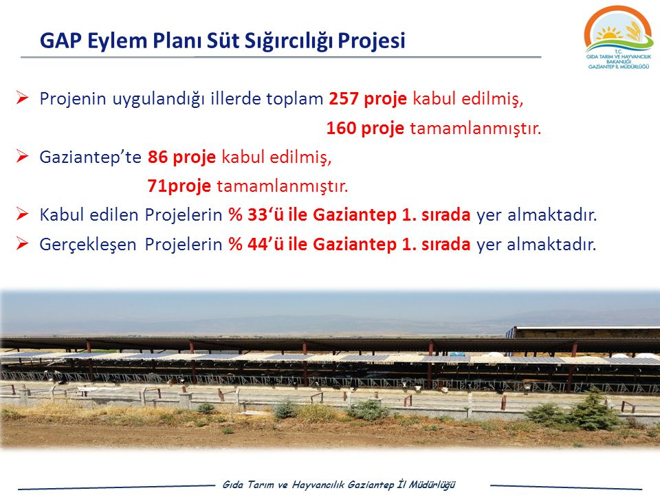 GAP Eylem Planı Süt Sığırcılığı Projesi