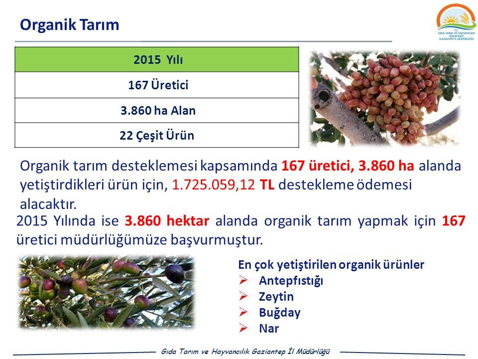 Organik Tarım 2015 Yılı. 167 Üretici. 3.860 ha Alan. 22 Çeşit Ürün.