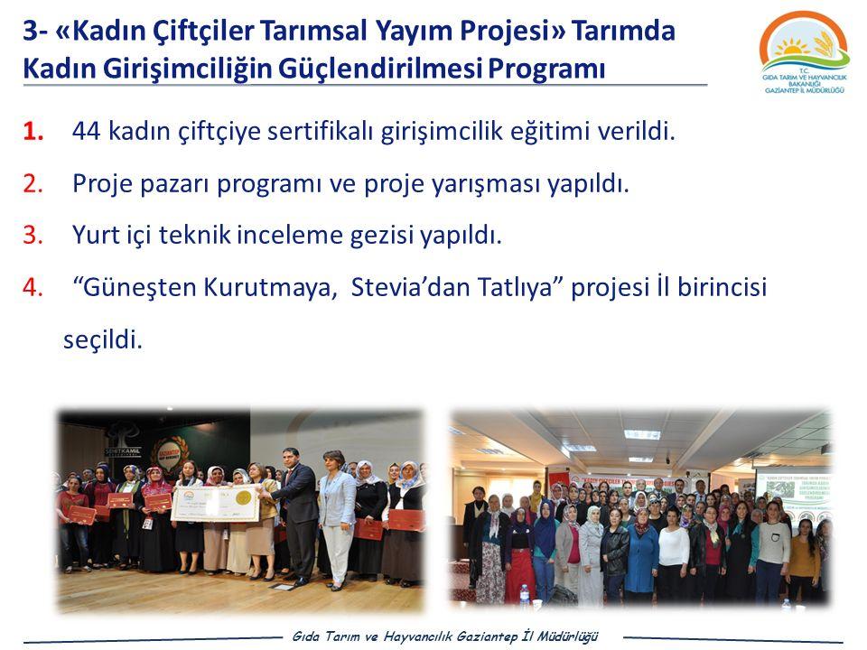 3- «Kadın Çiftçiler Tarımsal Yayım Projesi» Tarımda Kadın Girişimciliğin Güçlendirilmesi Programı
