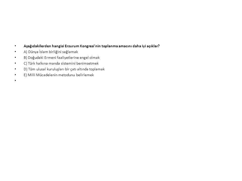 Aşağıdakilerden hangisi Erzurum Kongresi nin toplanma amacını daha iyi açıklar