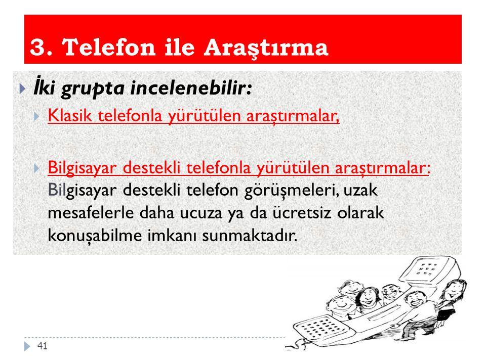 3. Telefon ile Araştırma İki grupta incelenebilir: