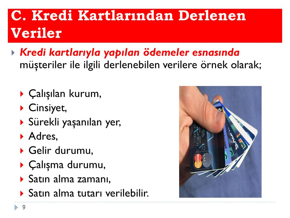 C. Kredi Kartlarından Derlenen Veriler