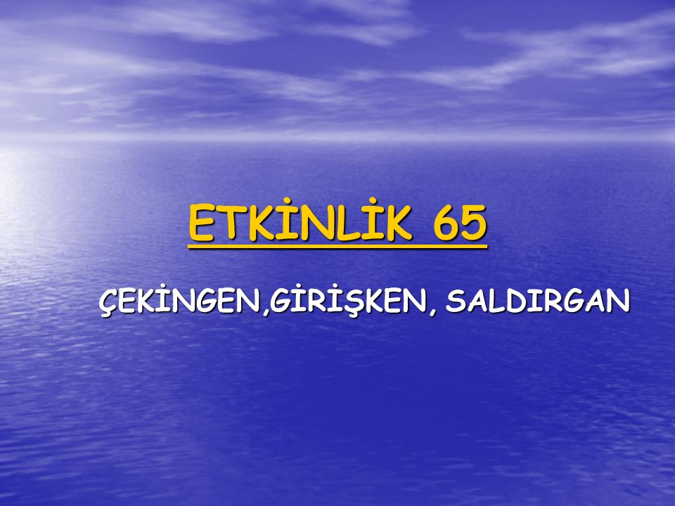 ETKİNLİK 65 ÇEKİNGEN, GİRİŞKEN, SALDIRGAN