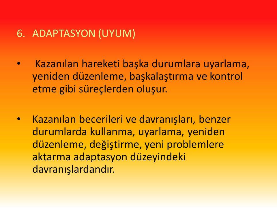 ADAPTASYON (UYUM) Kazanılan hareketi başka durumlara uyarlama, yeniden düzenleme, başkalaştırma ve kontrol etme gibi süreçlerden oluşur.