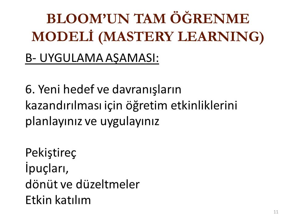 BLOOM'UN TAM ÖĞRENME MODELİ (MASTERY LEARNING)