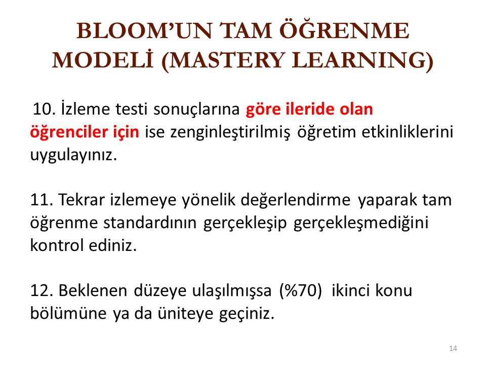 BLOOM'UN TAM ÖĞRENME MODELİ (MASTERY LEARNING)