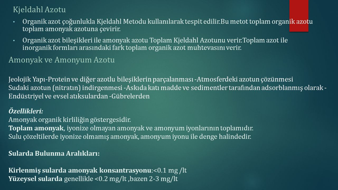 Amonyak ve Amonyum Azotu