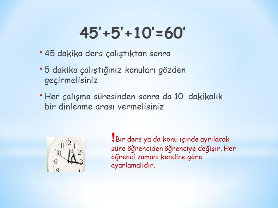 45'+5'+10'=60' 45 dakika ders çalıştıktan sonra. 5 dakika çalıştığınız konuları gözden geçirmelisiniz.