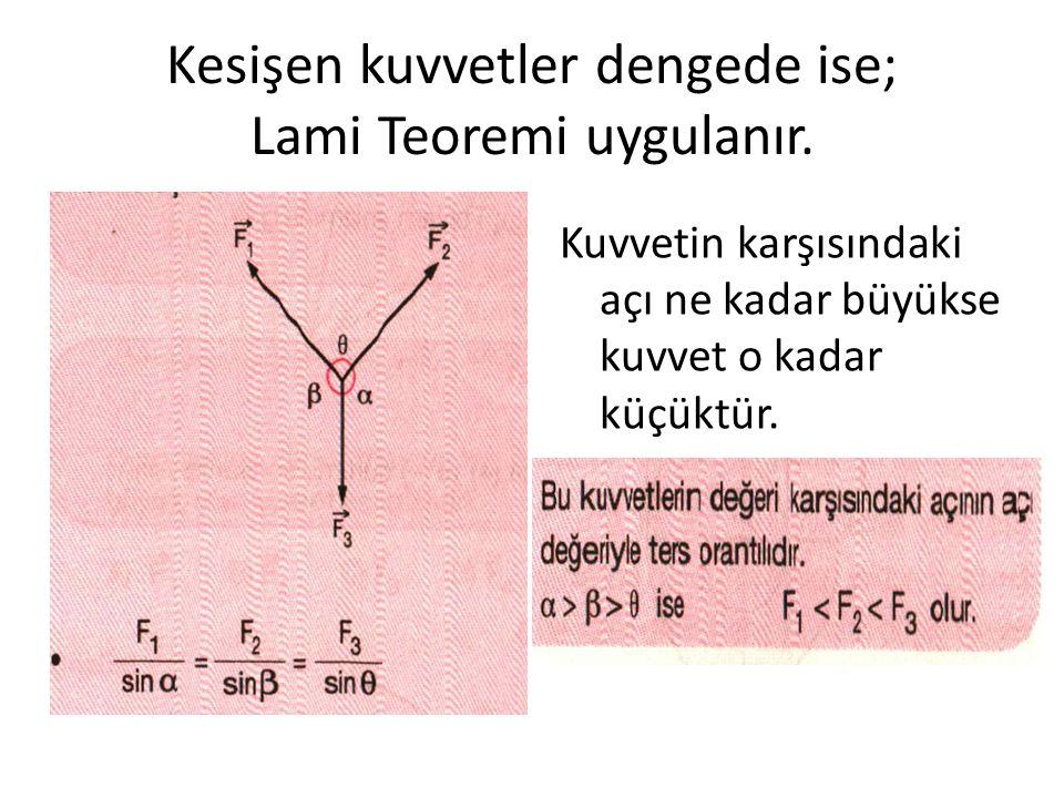 Kesişen kuvvetler dengede ise; Lami Teoremi uygulanır.
