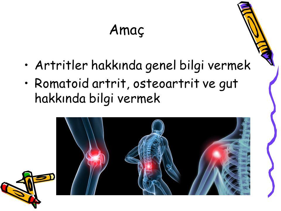 Amaç Artritler hakkında genel bilgi vermek