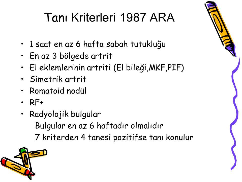 Tanı Kriterleri 1987 ARA 1 saat en az 6 hafta sabah tutukluğu