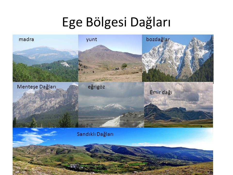 Ege Bölgesi Dağları madra yunt bozdağlar Menteşe Dağları eğrigöz