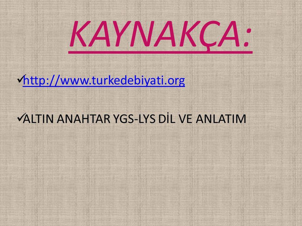 http://www.turkedebiyati.org ALTIN ANAHTAR YGS-LYS DİL VE ANLATIM